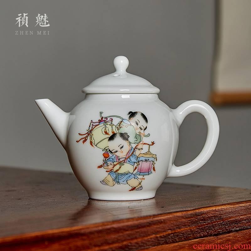 Shot incarnate the hand - made boy little teapot jingdezhen ceramic kung fu tea set household dipper filter teapot single pot