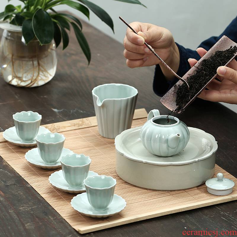 The Poly real view jingdezhen kung fu tea set suit plant ash household contracted noggin ceramic tea tureen tea tray