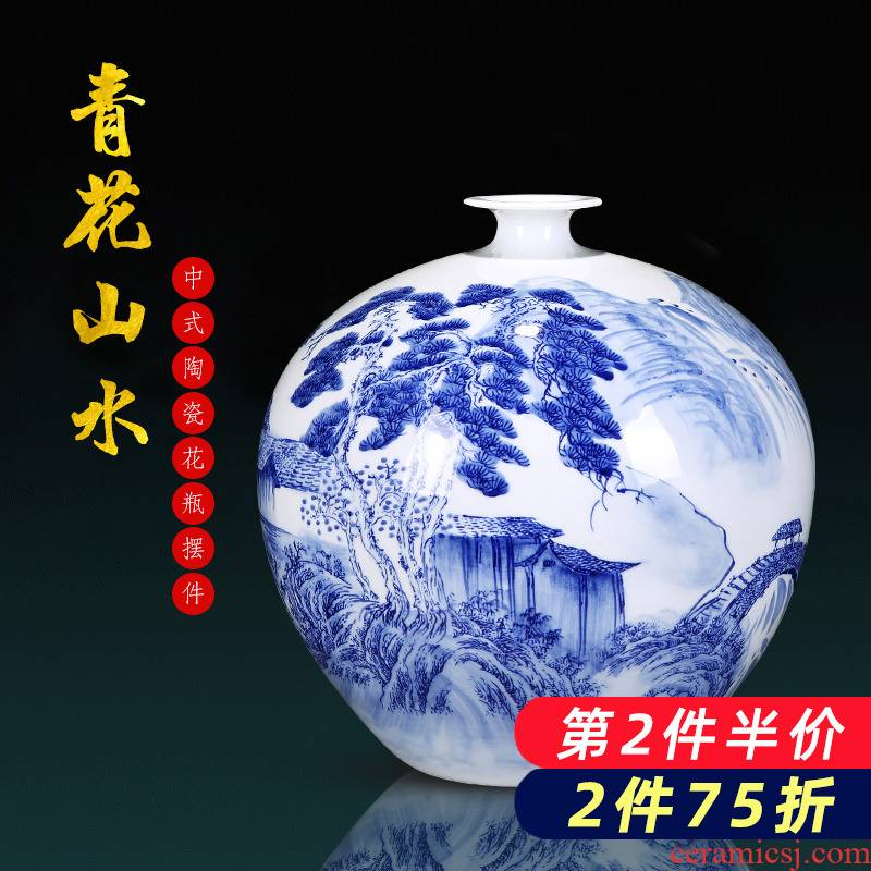 Jingdezhen porcelain ceramic hand - made scenery of blue and white porcelain vase furnishing articles of new Chinese style household flower arrangement sitting room adornment
