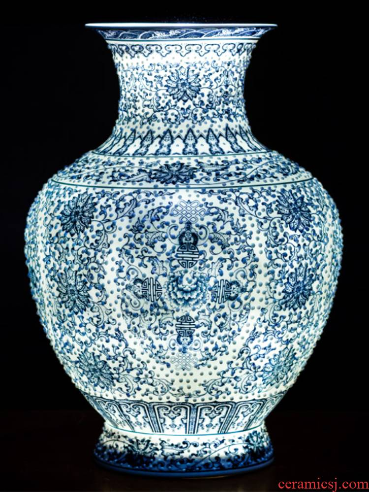 Jingdezhen ceramics hand - made of blue and white porcelain vase furnishing articles tree rich ancient frame the sitting room of Chinese style household ornaments