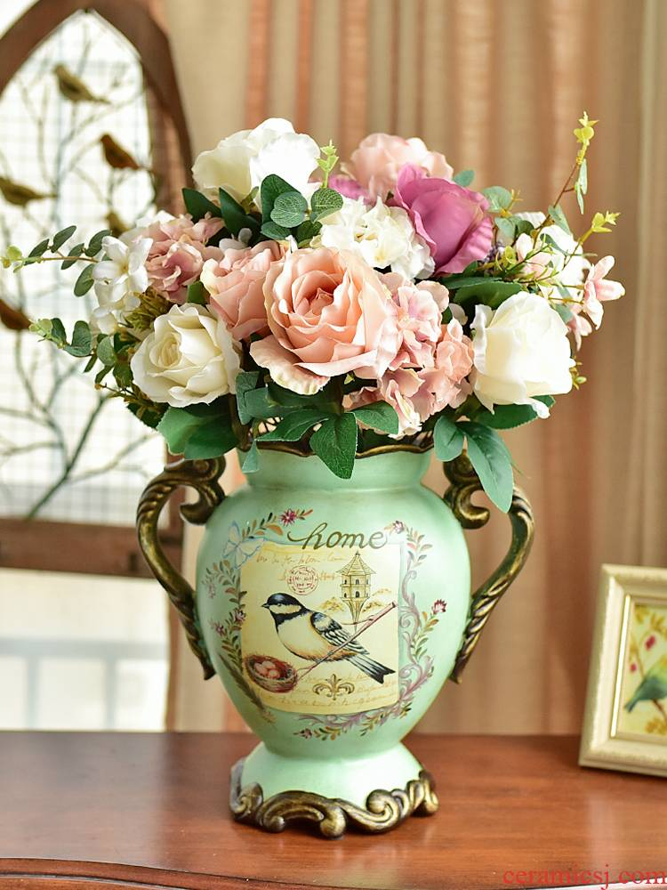 American country Europe type restoring ancient ways large ceramic vase furnishing articles sitting room porch TV ark, flower arrangement table decorations