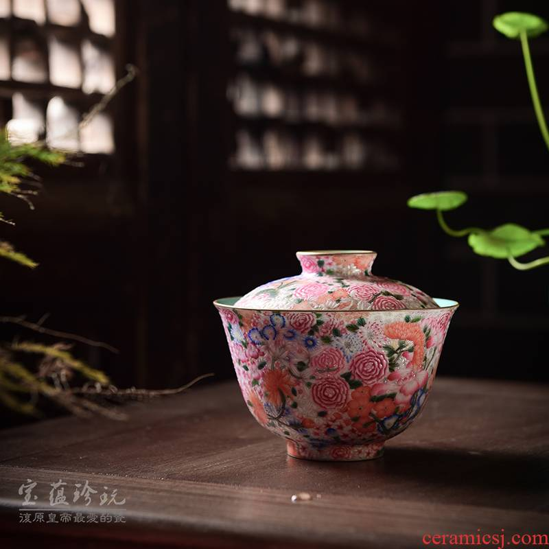 Submerged wood jingdezhen ceramic tea set kung fu tea powder enamel sample tea cup single CPU hand - made flowers colored enamel tureen