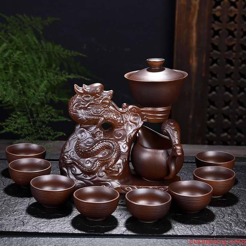 Firewood fortunes half automatic kung fu tea set purple ceramic household lazy stone mill make tea