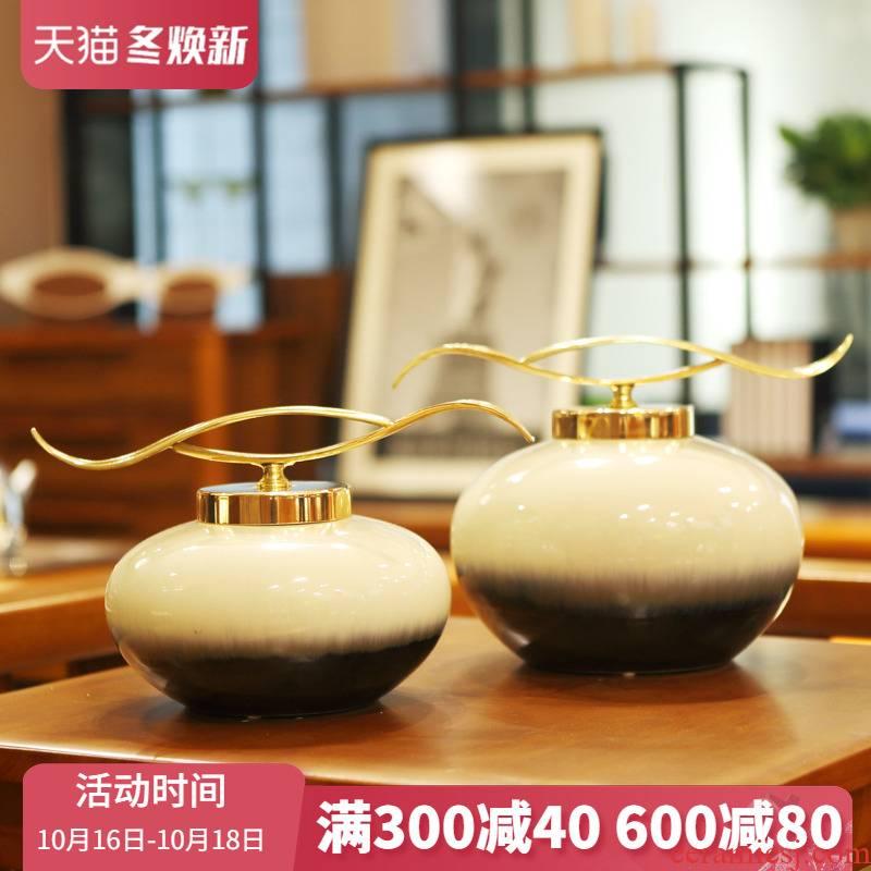 Jingdezhen ceramic furnishing articles modern porch light wine sitting room TV ark, American key-2 luxury model between household ornaments