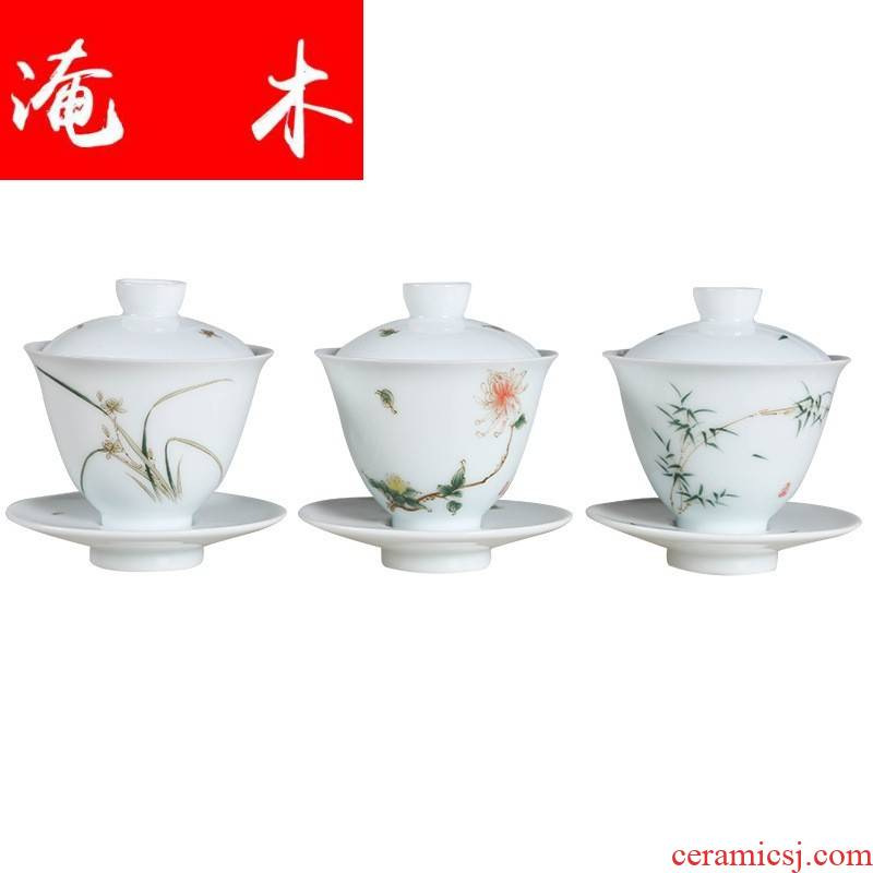 Flooded the wooden hand made green jade white porcelain clay only three bowls of shadow green bamboo kung fu tea tea bowl delicate orchid by is a single