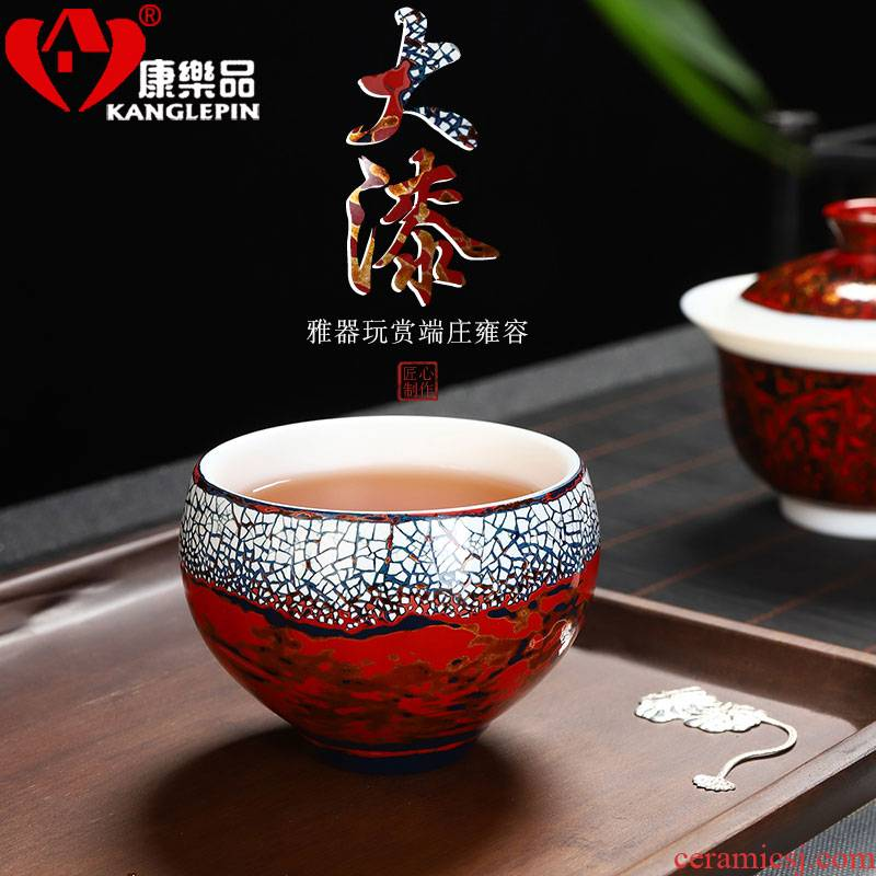 Recreational product type lacquer suet jade white porcelain egg cup ceramic personal master kung fu tea cups, big cup