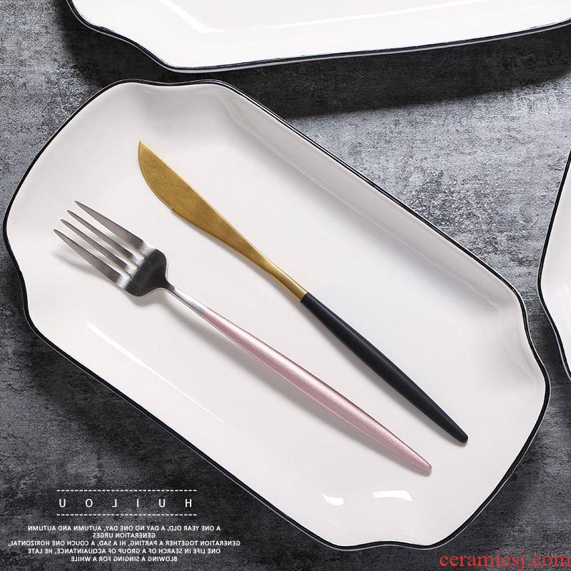 The Nordic kitchen ceramic plate contracted The black fish plate hotel plate ceramic tableware bowls plates suit custom