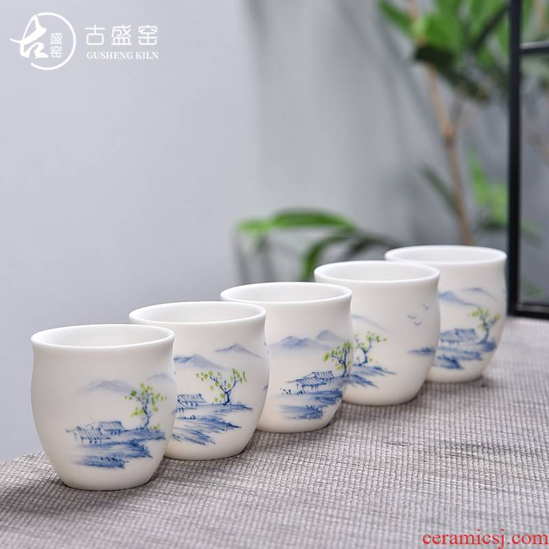 Ancient sheng hand dehua up new boy only pure white jade porcelain high - white tea kungfu master CPU