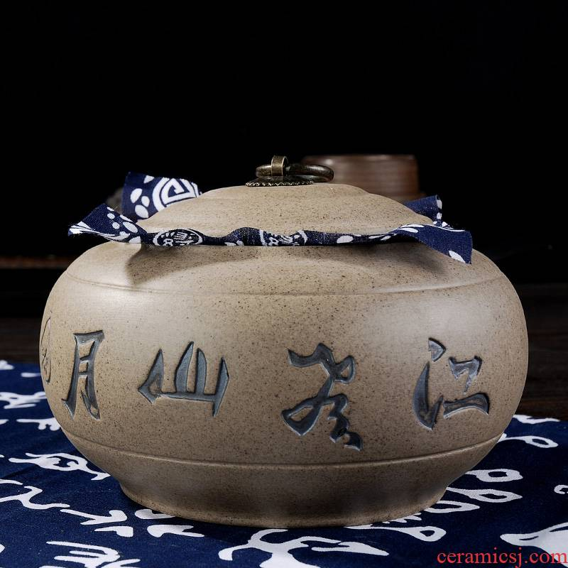 Shadow enjoy coarse pottery tea urn anaglyph tea boxes detong puer tea pot seal rock, mud caddy fixings large - sized DCXH