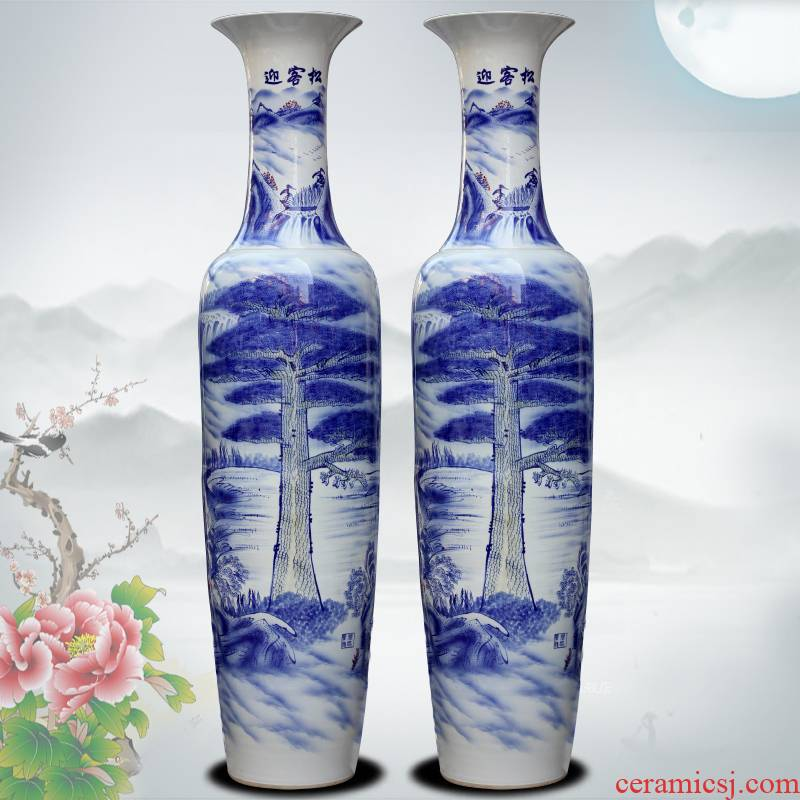 Blue and white porcelain of jingdezhen ceramic hand - made guest - the greeting pine of large vase household living room decoration to the hotel with modern furnishing articles