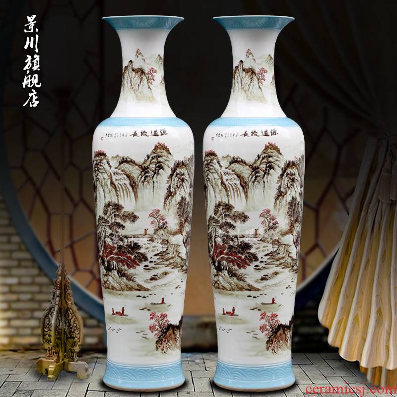 Jingdezhen porcelain has a long history in the hand - made color ink landscape painting big vase home sitting room be born modern furnishing articles
