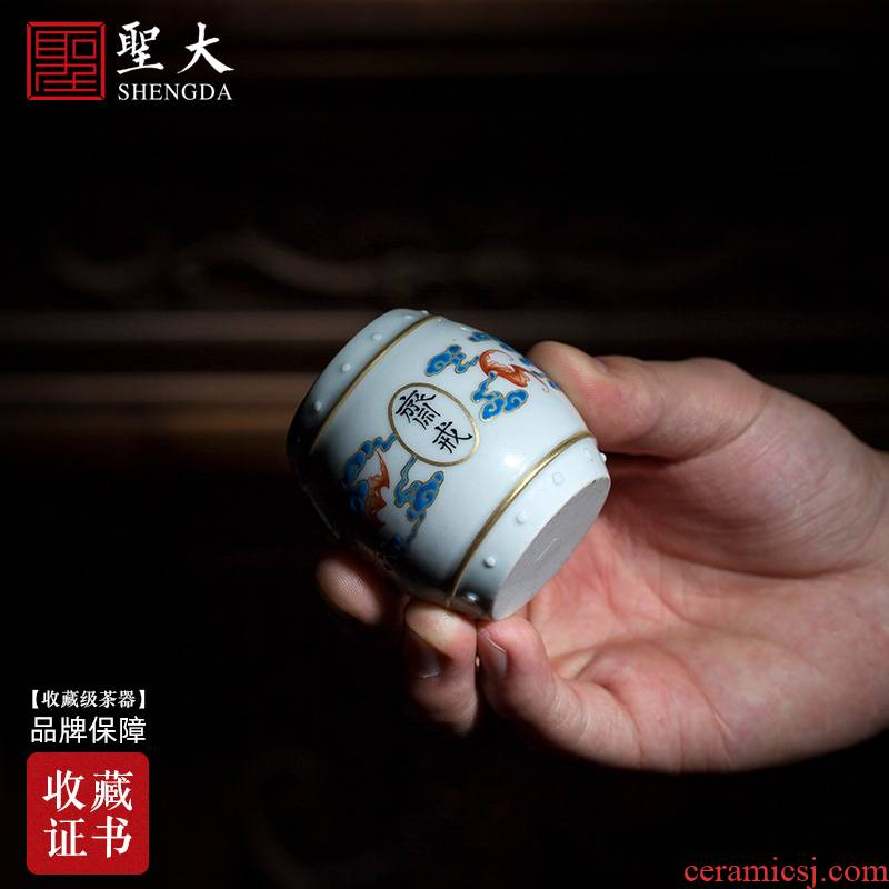 Holy big ceramic cover rear hand - made enamel paint fast cloud bat cover all hand jingdezhen kung fu tea accessories