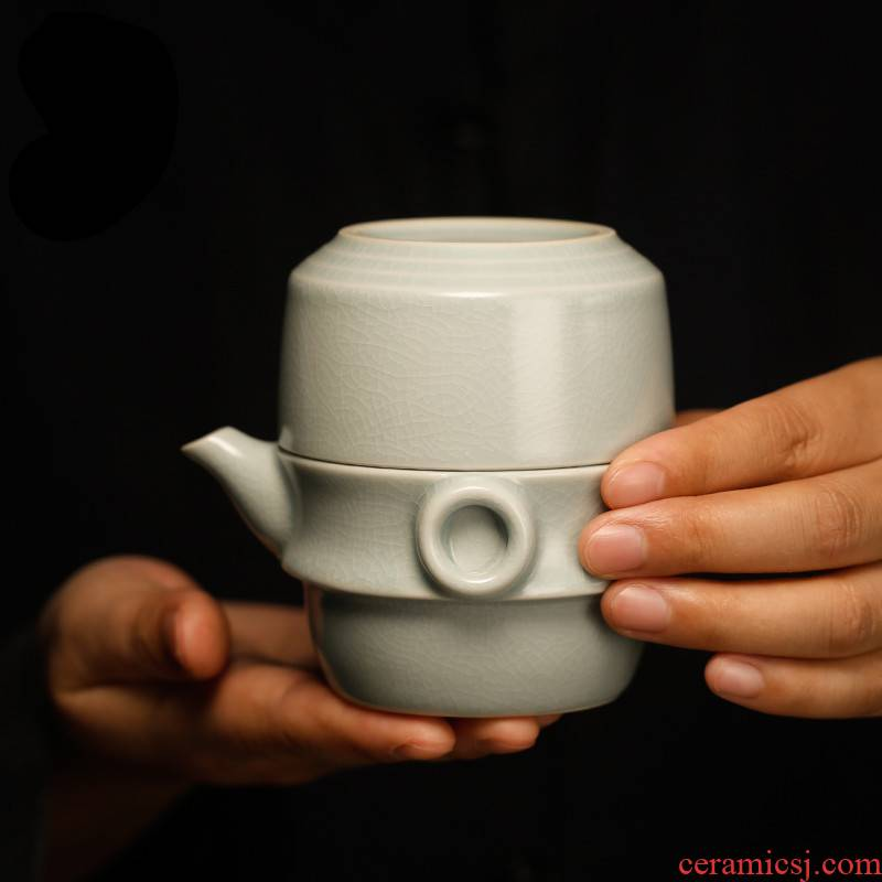 . Poly real boutique scene. Jingdezhen your up crack cup travel a pot of a cup of tea set suit portable hand grasp pot
