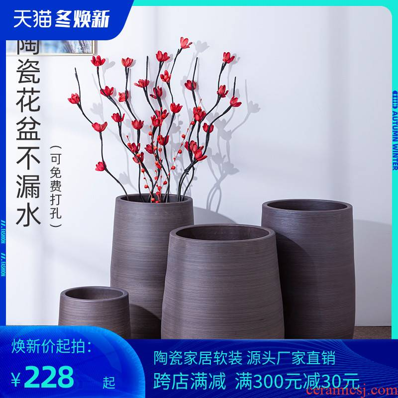 Green, the plants of large diameter pottery flowerpot restoring ancient ways is I and contracted ceramic vases, indoor plant decoration cylinder water jugs