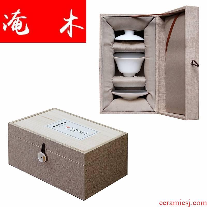 Submerged wood all hand only three tureen jingdezhen kung fu tea sweet white glaze jade porcelain white porcelain wsop tureen tea with cover