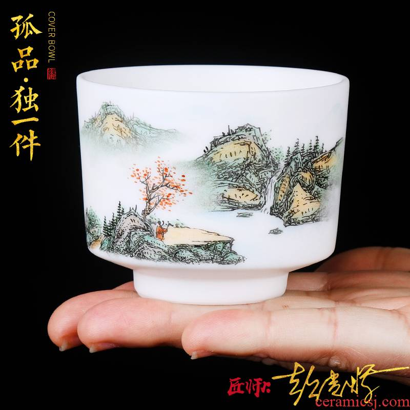 The Master artisan fairy orphan works TaoXi hand - made ceramic cup Master jade ceramic cups household sample tea cup kung fu tea cups