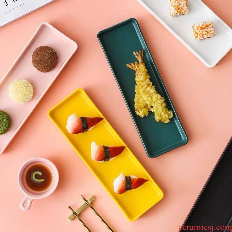 Scene wishful Nordic strip plate, ceramic plate creative dessert plate household rectangular tray is Japanese sushi plate