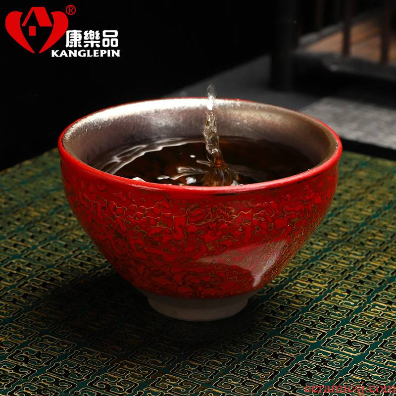 Recreational products built beam lamp cup expressions using Chinese lacquer process red gold oil droplets beam of the folding of the ceramic cup expressions using expressions using the master cup of tea