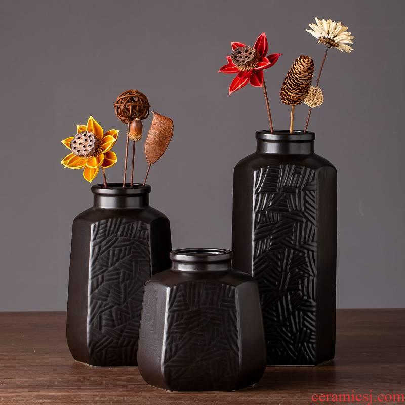 Jingdezhen ceramic big vase vintage black contracted and I living room TV cabinet desk creative furnishing articles do the vase