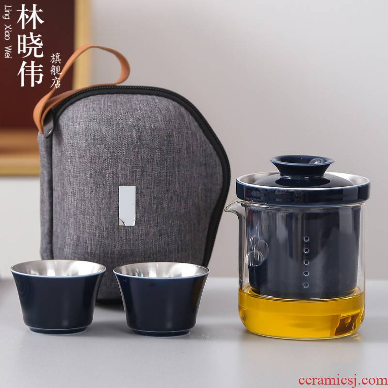 Glass travel tea set suit portable package car travel tasted silver gilding crack Glass ceramic a pot of two small set of cups