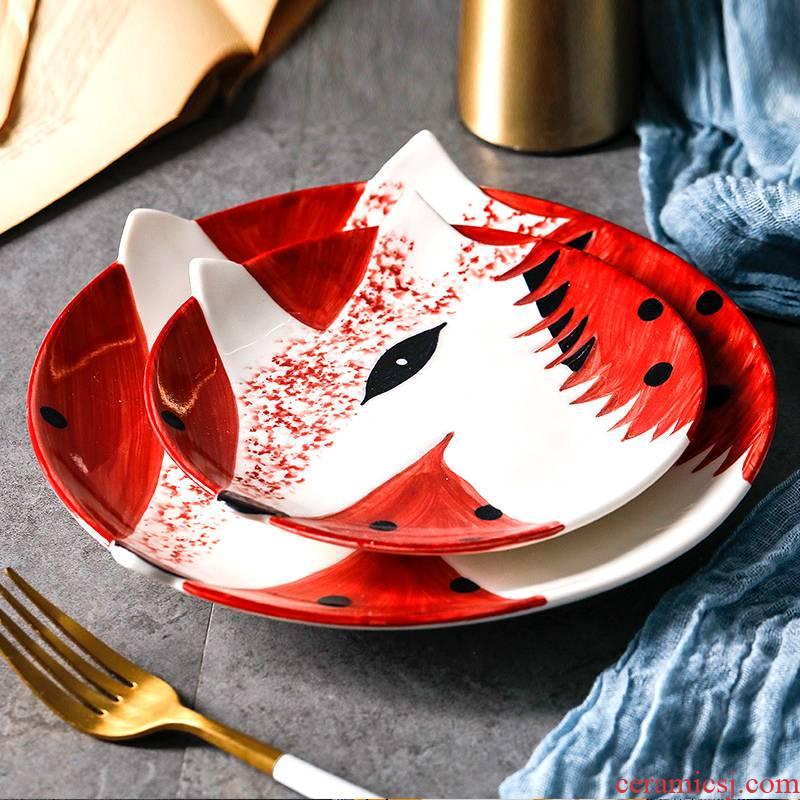 Northern wind cartoon children baby animals eat dish of household ceramic plate breakfast tray was dessert dish dish dish