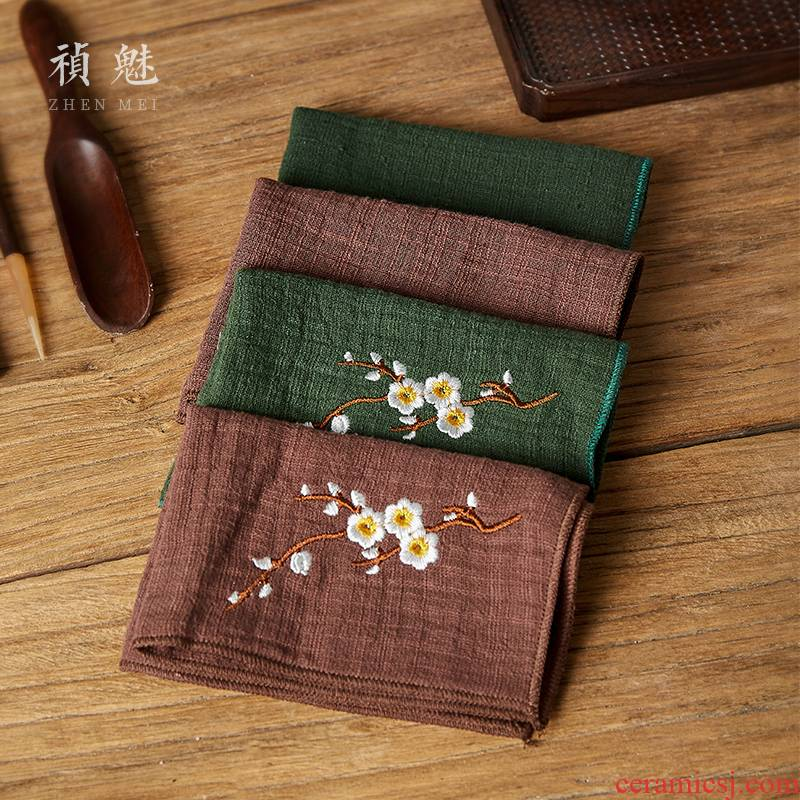 Jingdezhen kung fu tea accessories embroidery tea towel Chinese wind thickening of pure cotton and linen bibulous tea towel