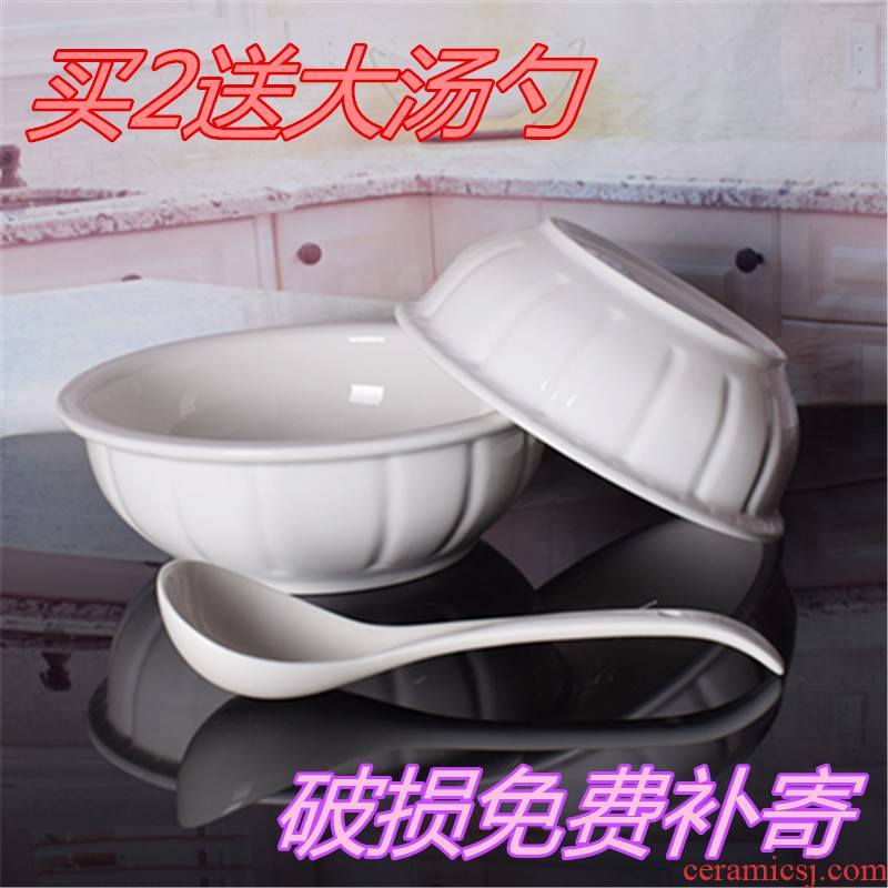 9 inches ceramic big household large soup tureen ancient hotels white soup bowl microwave tableware