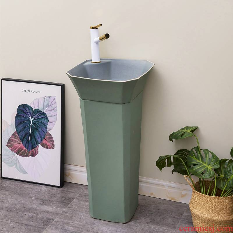 Green square ceramic one - piece floor pillar basin of household toilet lavatory contracted Nordic lavabo
