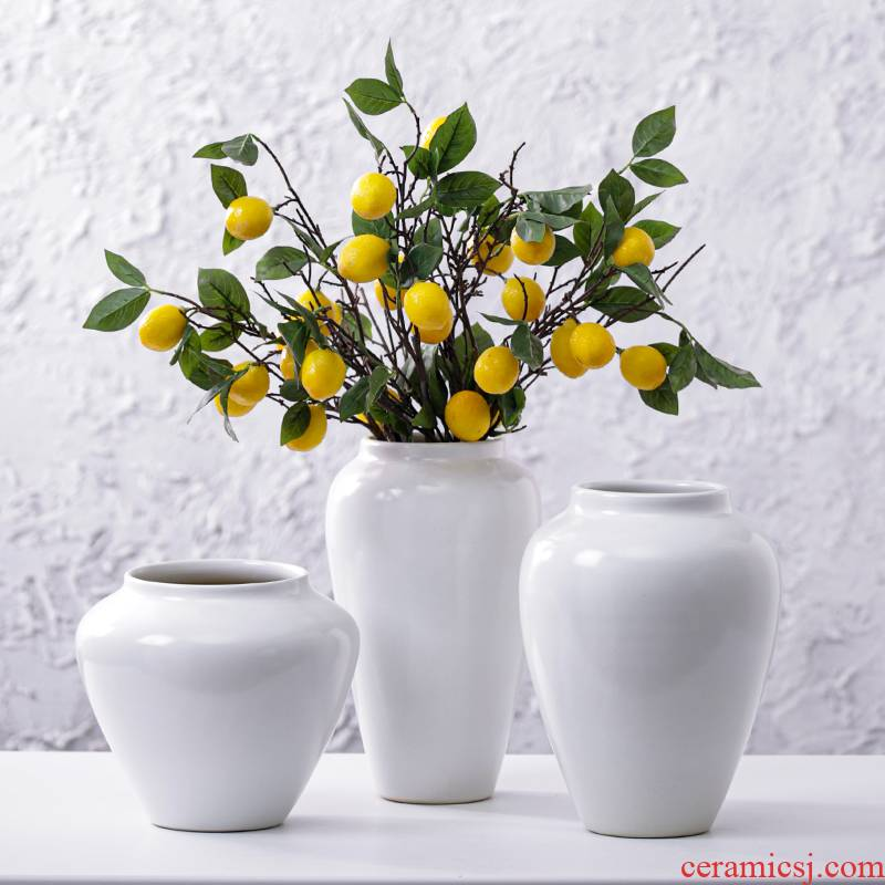 Nordic creative I and contracted sitting room, the dried flower arranging flowers white matte enrolled porcelain vase furnishing articles household act the role ofing is tasted