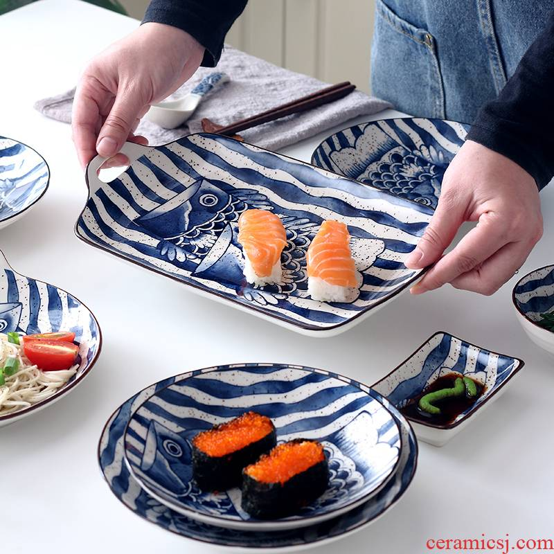 Ceramic bowl home 0 to restore ancient ways the Japanese fish of plate under the jingdezhen Ceramic glaze color all the hand - made tableware