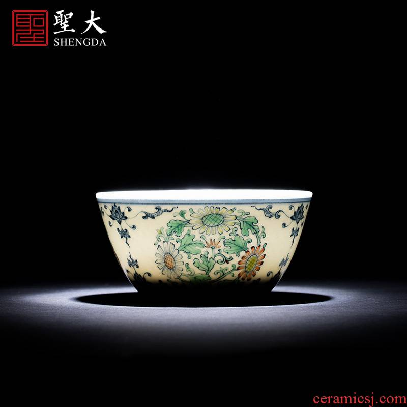 Holy big ceramic kung fu tea master cup of pure hand - made porcelain dou CaiTuan by lines cylinder cup jingdezhen tea by hand