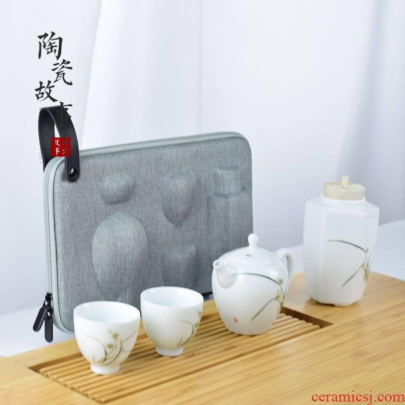 Travel tea set suit portable receives a complete set of white porcelain ceramic story kung fu tea set a pot of two CPU crack cup