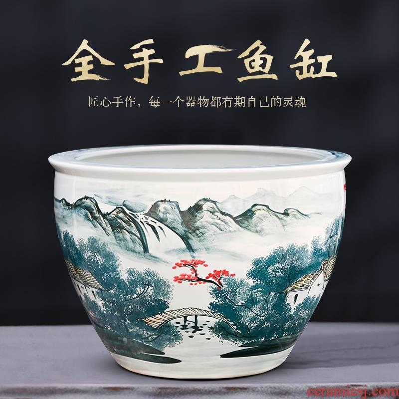 Jingdezhen ceramic size 1 m fish tank water lily bowl lotus goldfish turtle to heavy cylinder courtyard fish basin porcelain basin