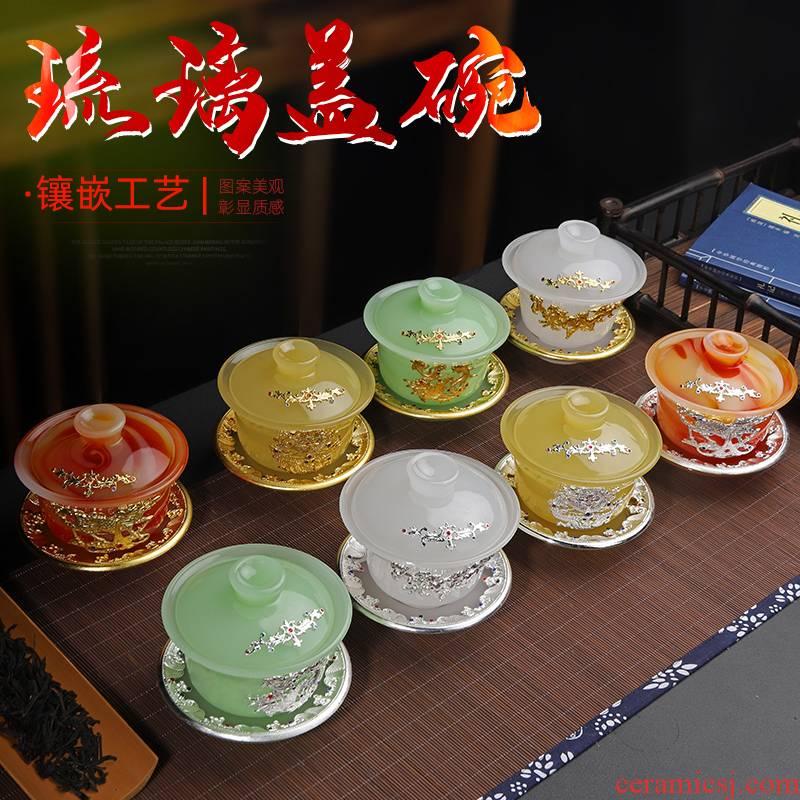 Ya xin coloured glaze three tureen only a single suet jade porcelain tea cups super - large bugler pot of cloisonne tea set