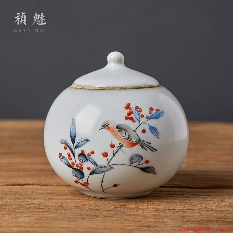 Shot incarnate your up hand - made painting of flowers and kung fu tea tea caddy fixings jingdezhen ceramics accessories home and POTS