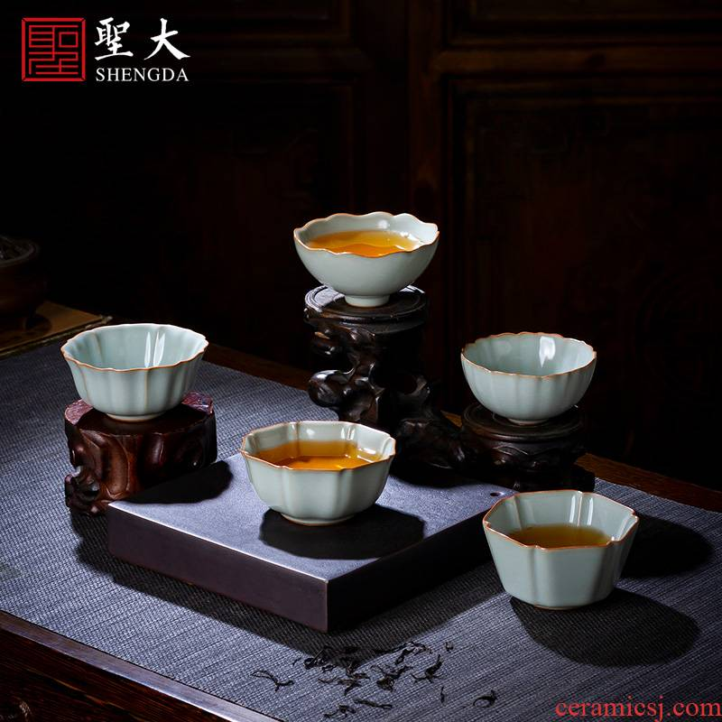 Holy big ceramic kunfu tea sample tea cup by hand the up and the secret color porcelain flowers koubei masters cup of jingdezhen tea service by hand