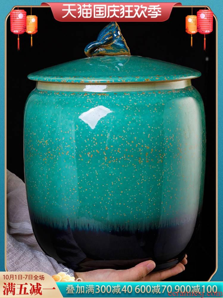 Jingdezhen ceramic up pu 'er tea pot large seal pot home heavy moisture storage tank is large