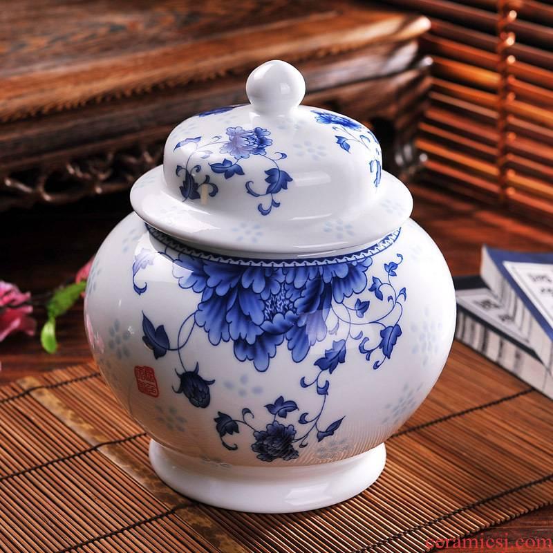1 kg of jingdezhen ceramic tea pot seal pot a large blue and white honey tea pot pot POTS storage tank