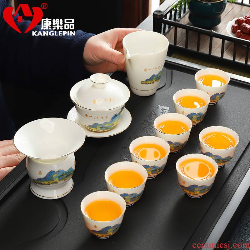 Recreational product white porcelain suet jade kung fu tea set suit Japanese household contracted and I small tureen of a complete set of tea cups