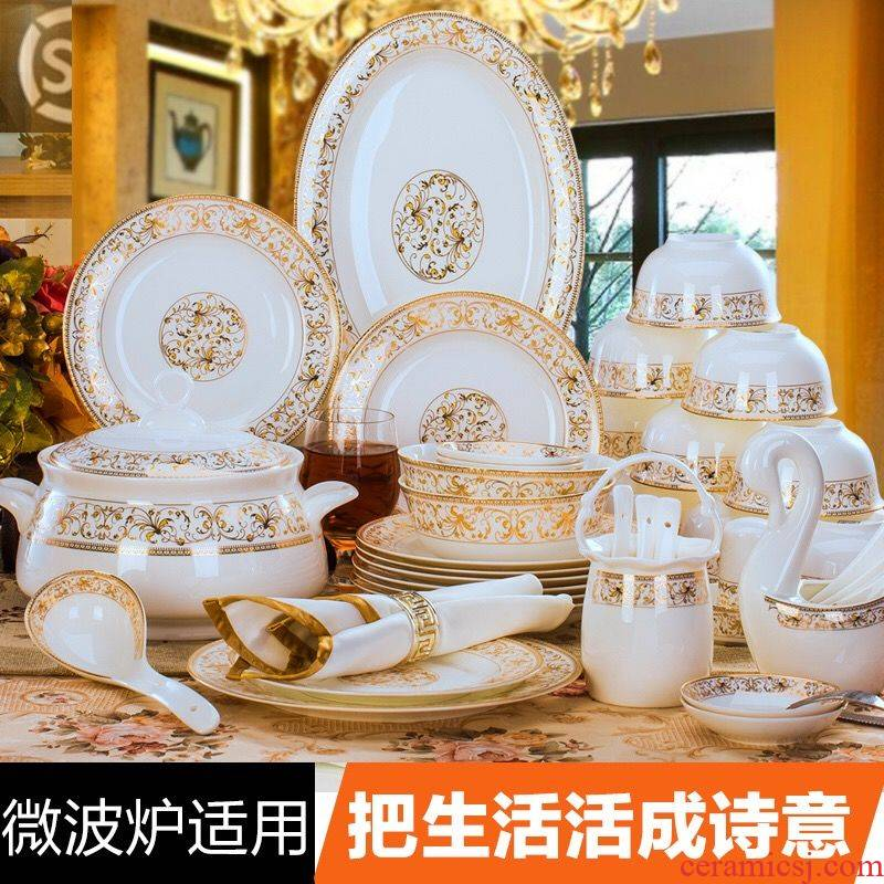 60 head dishes suit household jingdezhen European - style ipads porcelain bowl chopsticks ceramic bowl Chinese composite plate