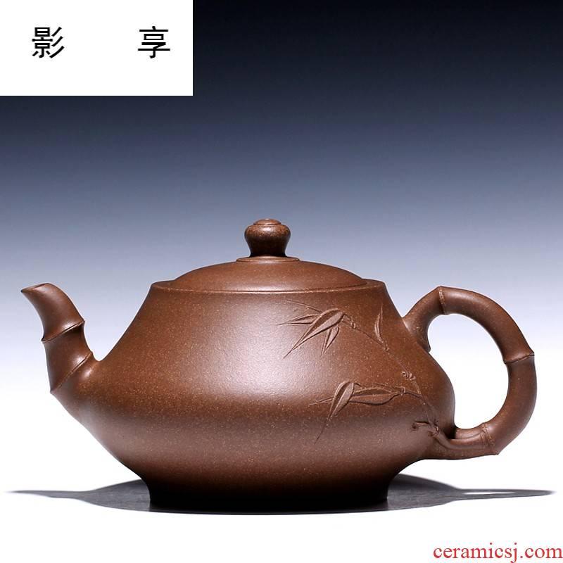Yixing high shadow enjoy 】 【 famous xin - sheng li pure manual it the teapot old green bamboo drum 480 CCC