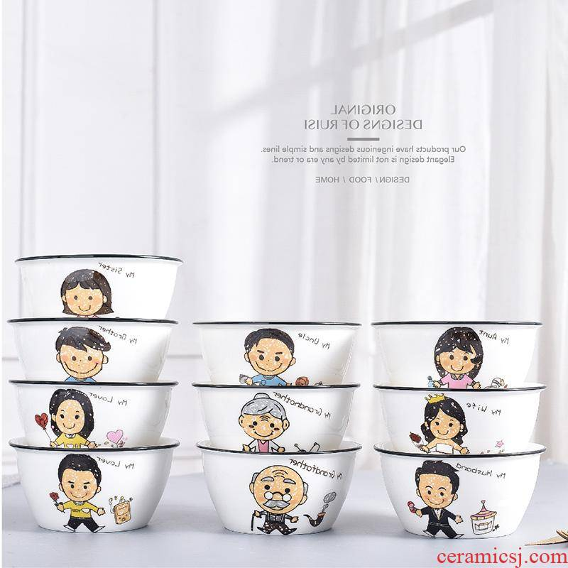 The kitchen family parent - child tableware ceramic bowl bowl family and lovely children eat bread and butter for a family of four bowls