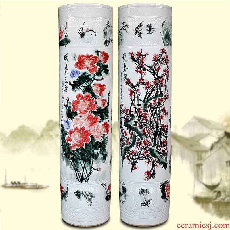 Jingdezhen ceramics peony quiver hand - made amusement landing big vase stores crafts are sitting room