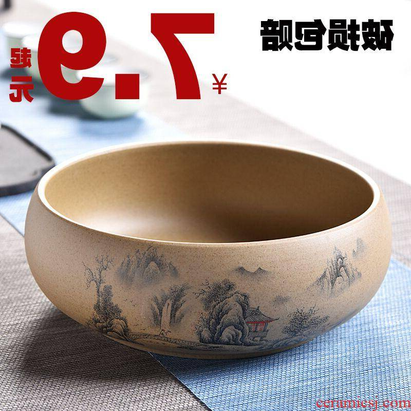 The kitchen coarse pottery large blue and white porcelain tea set writing brush washer wash to kung fu tea accessories tea six gentleman zero with a water jar