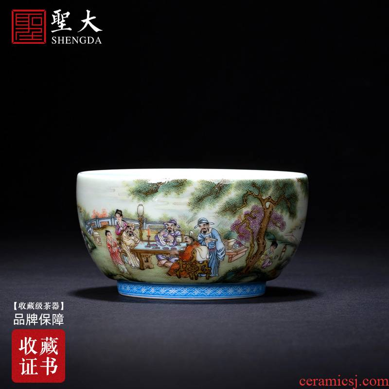 Santa teacups hand - made ceramic kungfu character pastel Chen banquet master sample tea cup lamp cup of jingdezhen tea service