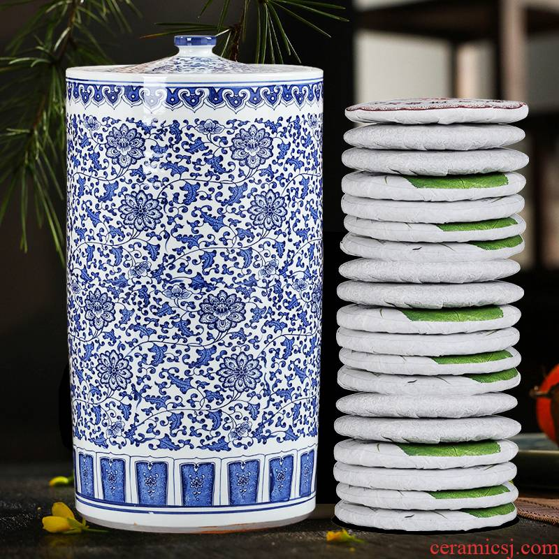 Archaize oversized pu - erh tea canister to jingdezhen ceramic pot tea cake receive straight seal storage tanks