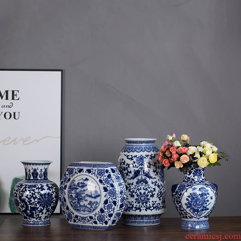 Jingdezhen ceramic vase furnishing articles sitting room light flower arranging new Chinese style key-2 luxury creative contracted floral outraged of blue and white porcelain decoration