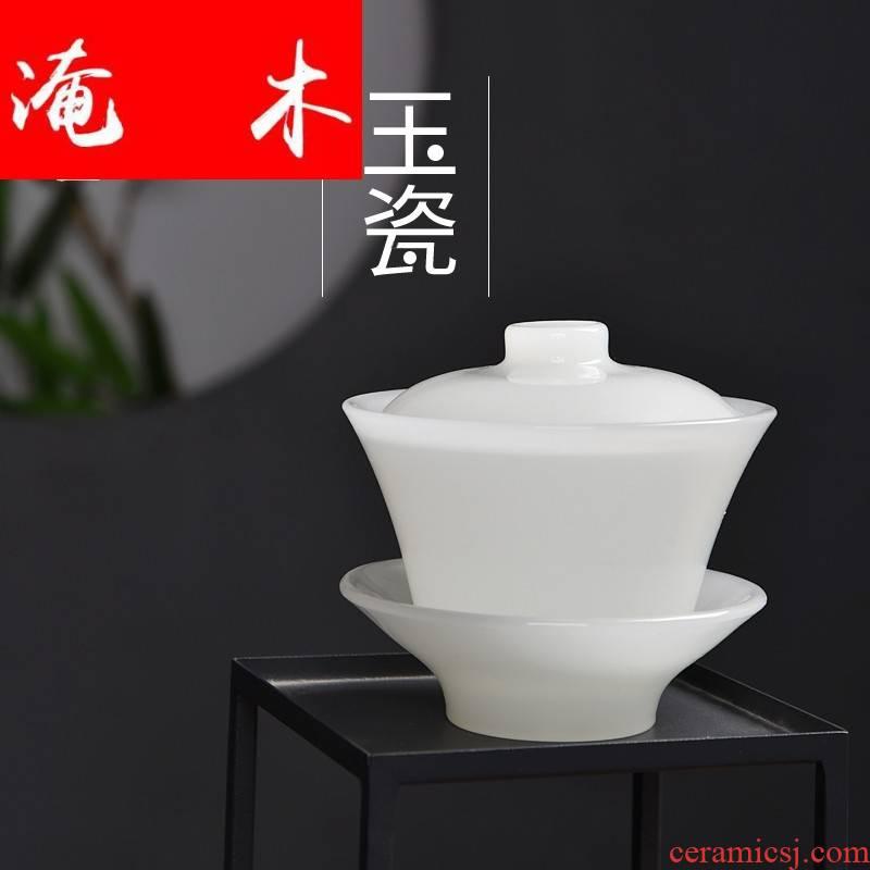 Submerged wood gode jade porcelain tea tureen white porcelain glass heat points three to bowl with coloured glaze kung fu tea set