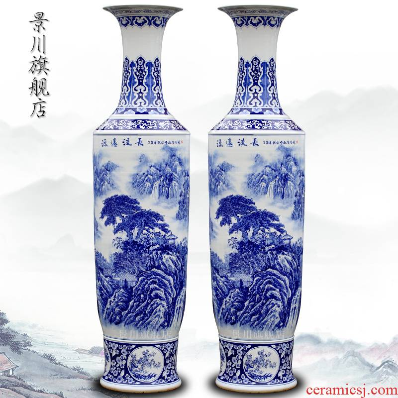 Jingdezhen ceramics hand - made enjoy a long history of landscape painting of large blue and white porcelain vase home furnishing articles in the living room