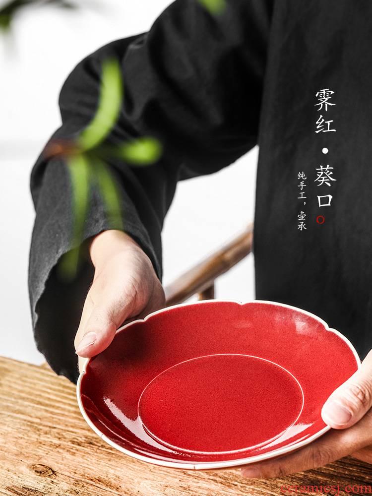Jingdezhen pot of bearing dry Taiwan Japanese ji red glaze water ceramic tea ChengChun manual household utensils accessories restoring ancient ways